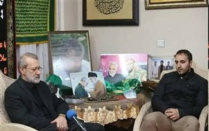 گفتوگوی لاریجانی  با فرزندان  شهید سلیمانی و ابومهدی المهندس