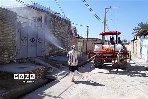 ضدعفونی و گندزدایی روستای شبیشه شهرستان حمیدیه