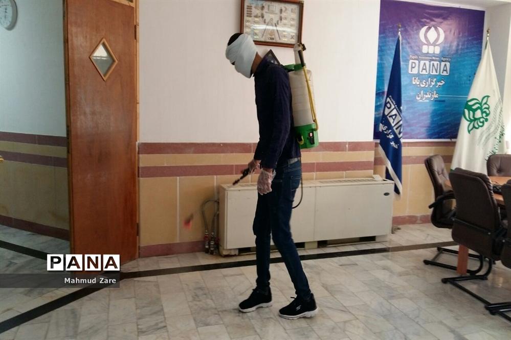ضدعفونی سازمان دانشآموزی مازندران در پایان هفته نخست کاری
