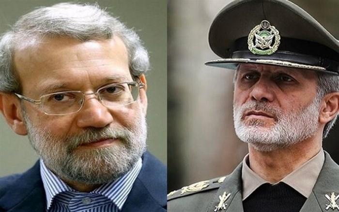 تماس تلفنی وزیر دفاع با علی لاریجانی