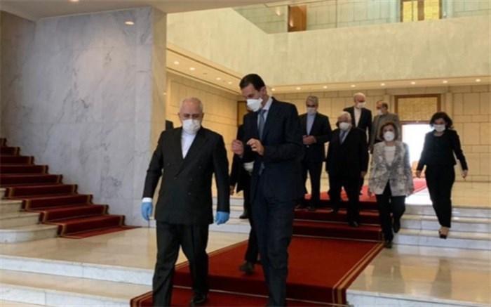دیدار و گفتوگوی ظریف با رئیسجمهور و وزیر خارجه سوریه