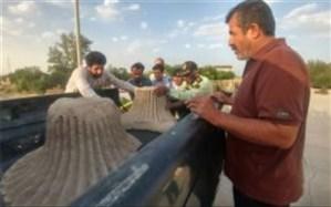 کشف دو قطعه پایه آتشدان دوره ساسانی در بوشهر