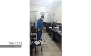 ضدعفونی فضای اداری آموزش پرورش شهرستان بجنورد توسط پیشتازان سازمان دانش آموزی