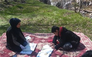 لذت یادگیری با برگزاری کلاس در فضای سبز روستای گراب طالقان