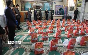 توزیع 320 بسته مواد غذایی در راستای رزمایش مواسات بین خانواده های دانش آموزان بی بضاعت خراسان شمالی