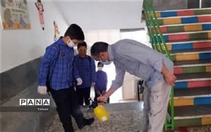اجرای پروتکل های بهداشتی برای مقابله با کرونا در مدارس منطقه۱۱