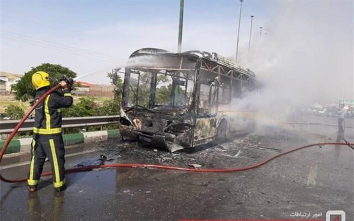آتش سوزی اتوبوس