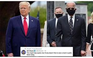 بازنشر توئیتی در تمسخر ماسک زدن بایدن توسط ترامپ