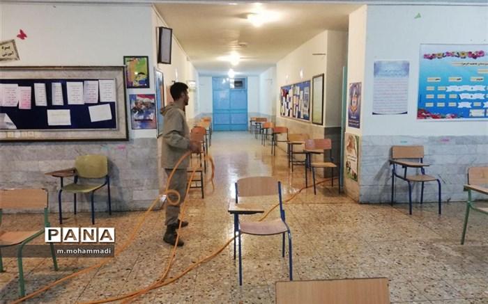 ضد عفونی روزانه حوزههای امتحانات نهایی مانه وسملقان