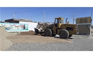 آغاز عملیات زیر سازی و کف سازی محوطه مدارس جهت آسفالت