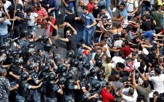 درگیری پلیس لبنان با تظاهرکنندگان