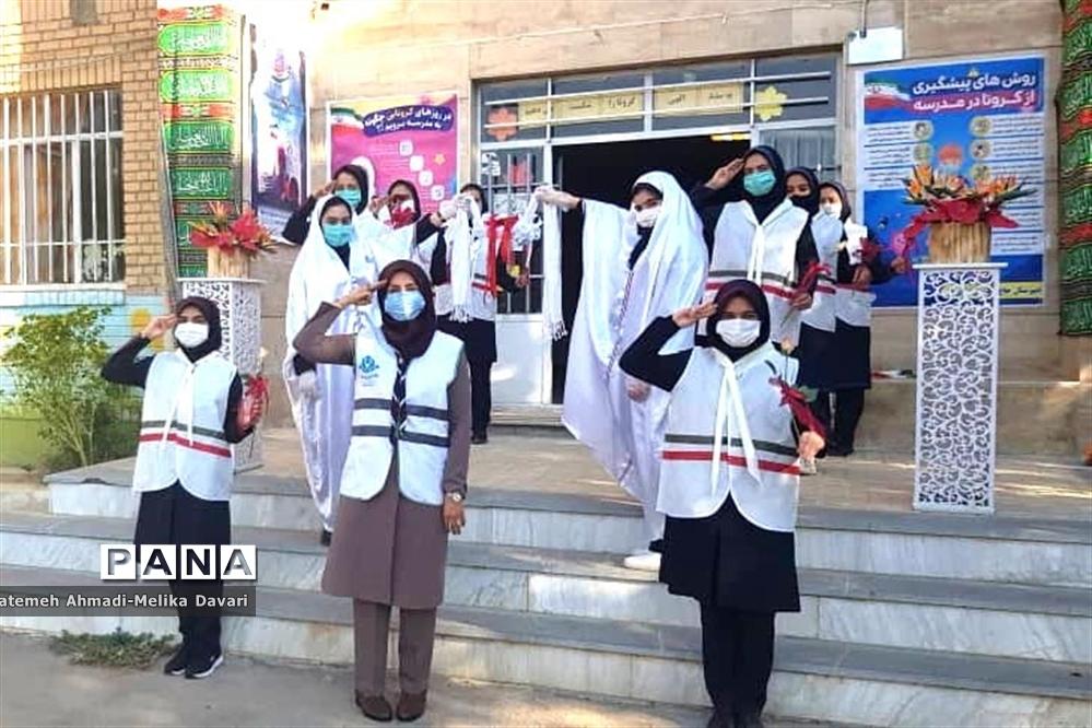 آیین نمادین بازگشایی مدارس شهرستان ملایر توسط دانش آموزان پیشتاز