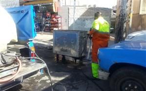 ضدعفونی و شستشوی باکسهای زباله سطح منطقه ۴
