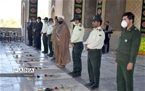 قبور 158 شهید شهرستان بهاباد غبارروبی و گلباران شد