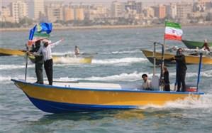 رژه 1000 شناور بسیج در سواحل نیلگون خلیج فارس