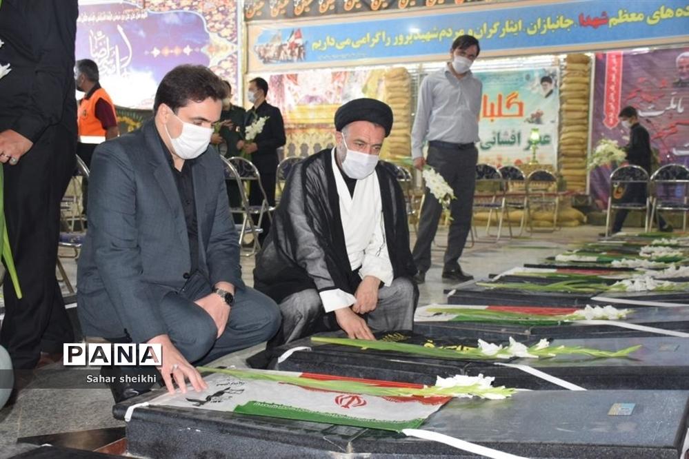 گلباران و عطر افشانی مزار شهدا شهرستان ملارد به مناسبت هفته بسیج