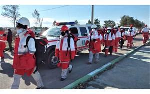 حضور تیمهای عملیاتی هلالاحمر رباط کریم در محل زمین لرزه فرضی اسلامشهر