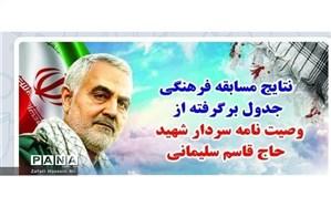اعلام برگزیدگان استانی مسابقه فرهنگی جدول، برگرفته از وصیت نامه سردار دلها