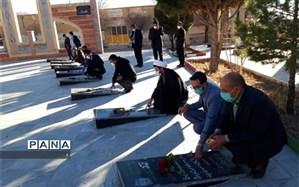 ادای احترام مدیرکل آموزش و پرورش استان کرمان به شهدای بافت