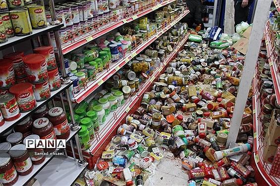 وضعیت مغازه های شهر سی سخت بعد از وقوع زلزله