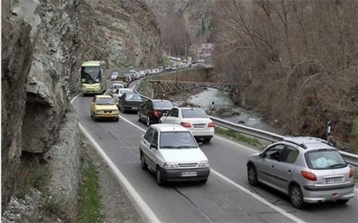 ترافیک نیمه سنگین در برخی نقاط جاده چالوس