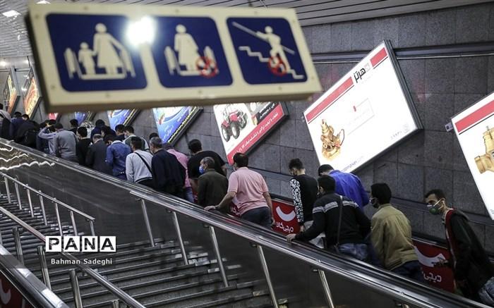 مترو تهران در شرایط قرمز کرونایی