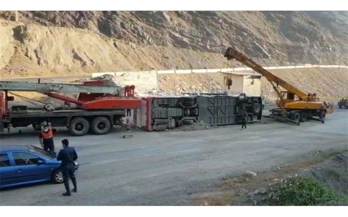 واژگونی اتوبوس گرگان در مسیر اسلامشهر