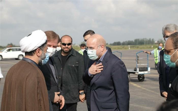 ورود  رییس مجلس شورای اسلامی به رشت