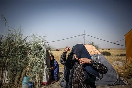انجام کارهای سنگین روزمره از همان روزهای اولیه پس از زلزله بر عهده زنان بوده است، اکنون با وجود گرم تر شدن هوا، وضعیت سختری را می گذرانند | Ali Sharifzade