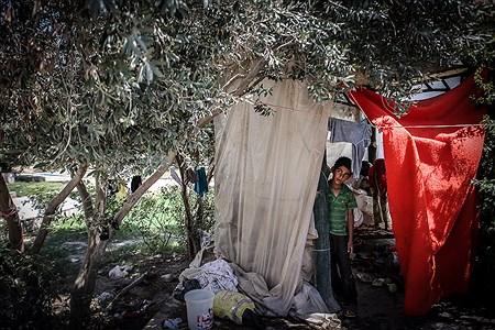 پسری که با خانواده خود در آلاچیقی واقع در پارک شهر سرپل ذهاب روزهای گرم تابستان را سپری می کند | Ali Sharifzade