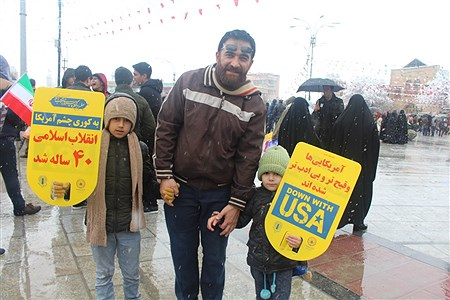 راهپیمایی 22 بهمن 97 همراه با بارش برف در همدان | Sahar Chahardoli