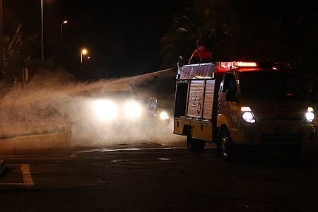 عملیات ضد عفونی مراکز خدماتی جزیره کیش  | Amir Hossein Yeganeh