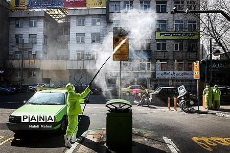 ضد عفونی معابر شهری تهران جهت پیشگیری از ویروس کرونا |