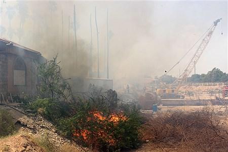 آتش سوزی در محوطه کارگاهی مترو و بخشی از پارک حجاب اهواز  | Mohamad Shahrokh Nasab
