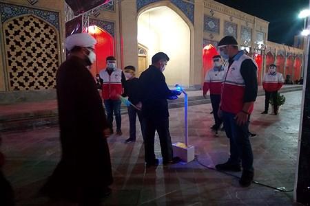 ضد عفونی زائران حسینی در ورودی صحن آرامگاه مدرس | MojtabaSahebzamani